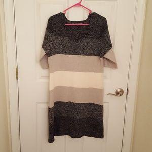 Grey Cream Stripe Sweater Dress